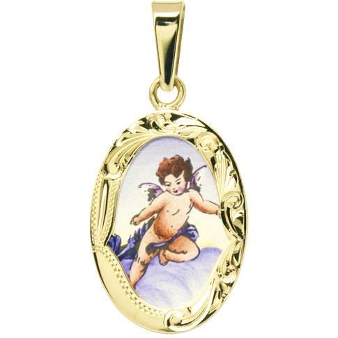 Zlatý dětský přívěsek - ochranný andílek větší v rytém rámečku