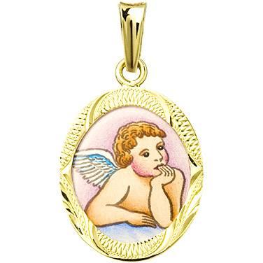 Zlatý dětský přívěsek - ochranný andílek v rytém rámečku