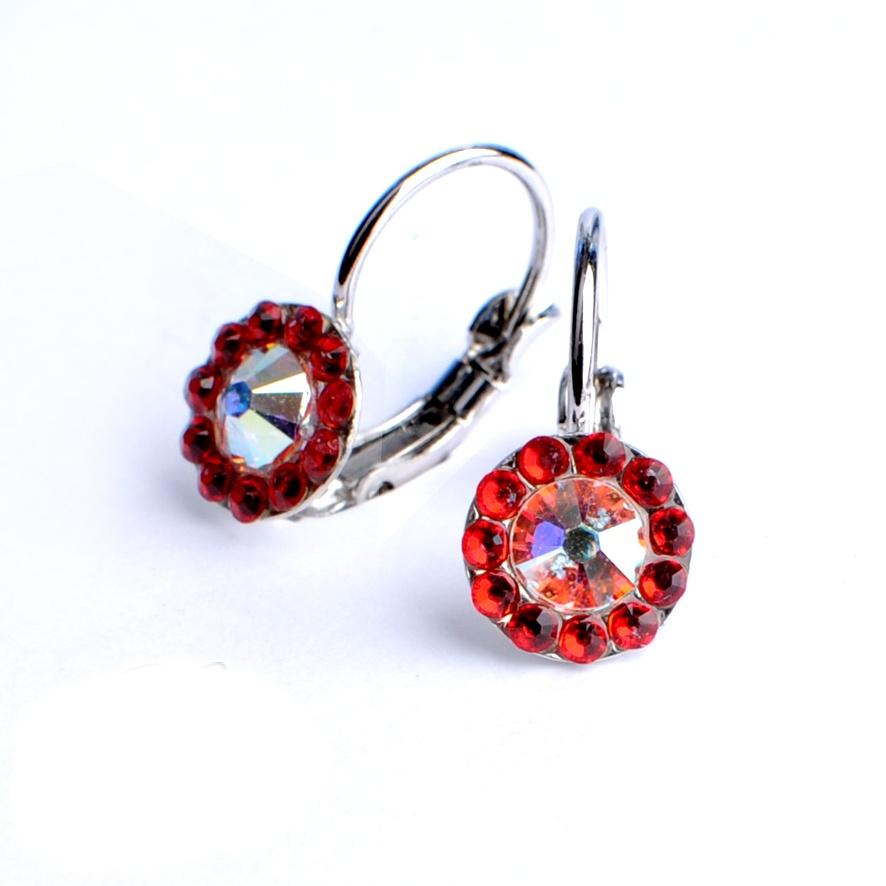 Dívčí náušnice Swarovski – červené kytičky