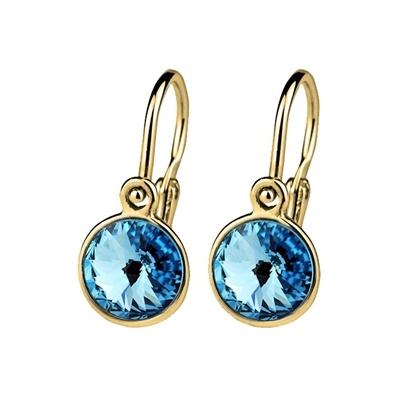 Dětské zlaté náušnice Swarovski - modrá kolečka