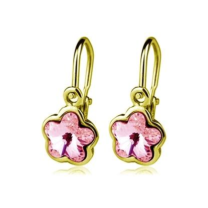 Dětské zlaté náušnice Swarovski - růžové kytičky