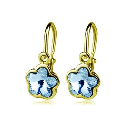 Dětské zlaté náušnice Swarovski - modré kytičky
