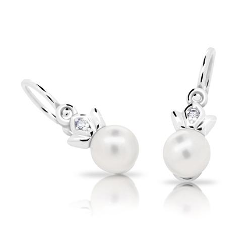 Dětské stříbrné náušnice Cutie C2267-Ag White s bílou perlou