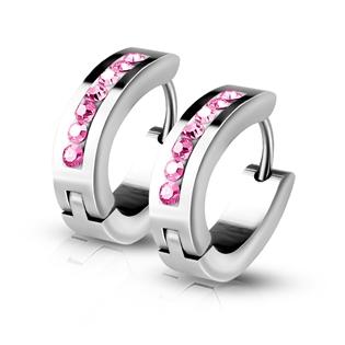 Ocelové kroužky s růžovými zirkony