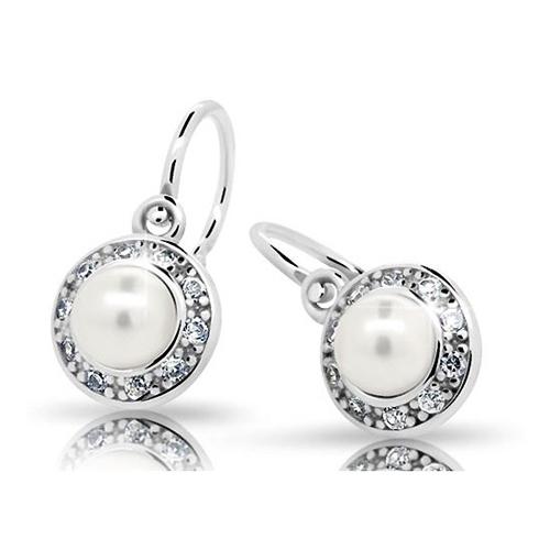 Dětské stříbrné náušnice Cutie C2393-Ag White s bílou perlou