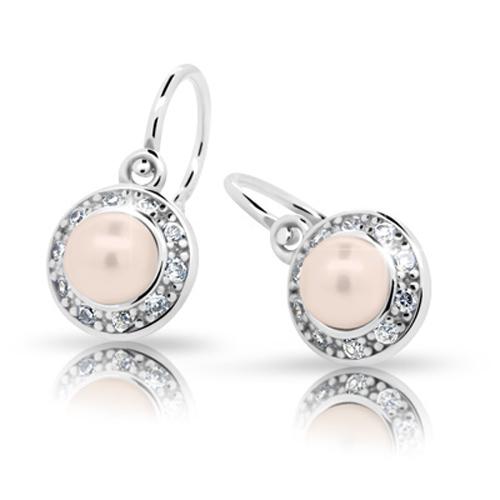 Dětské stříbrné náušnice Cutie C2393-Ag Peach s perlou