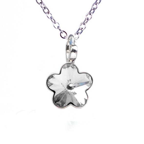 Dětský náhrdelník s krystaly Swarovski - čirá kytička