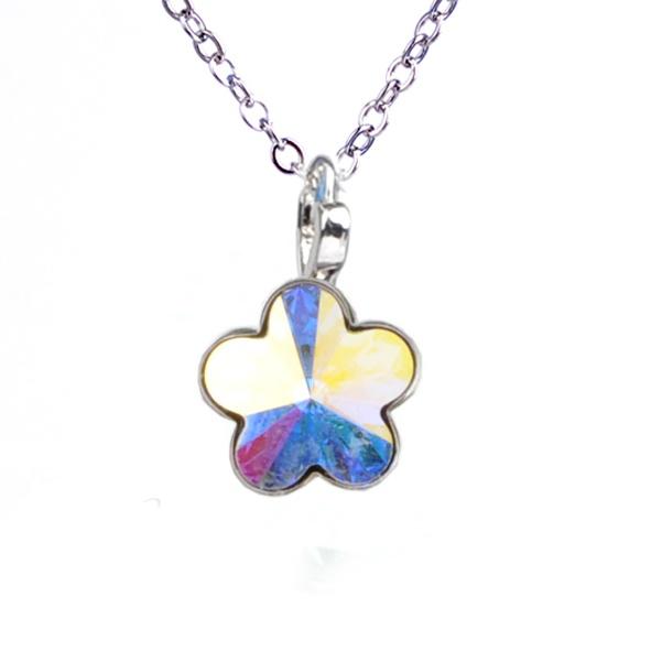 Dětský náhrdelník s krystaly Swarovski - duhová kytička