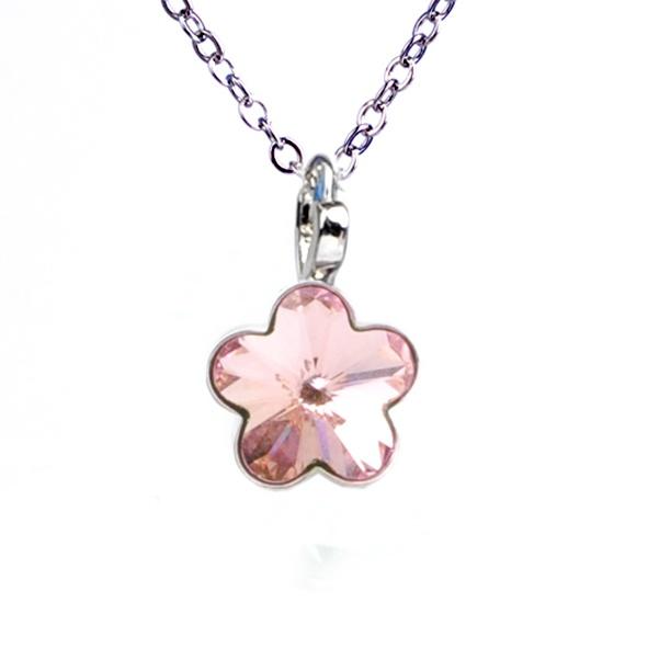 Dětský náhrdelník s krystaly Swarovski - světle růžová kytička