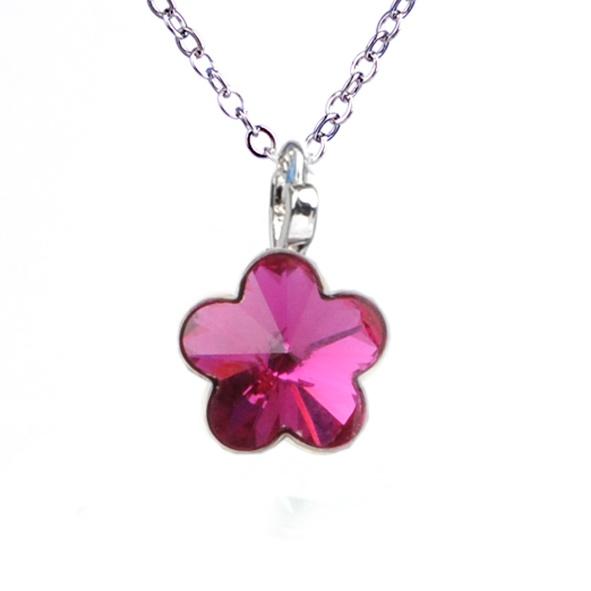 Dětský náhrdelník s krystaly Swarovski - tmavě růžová kytička