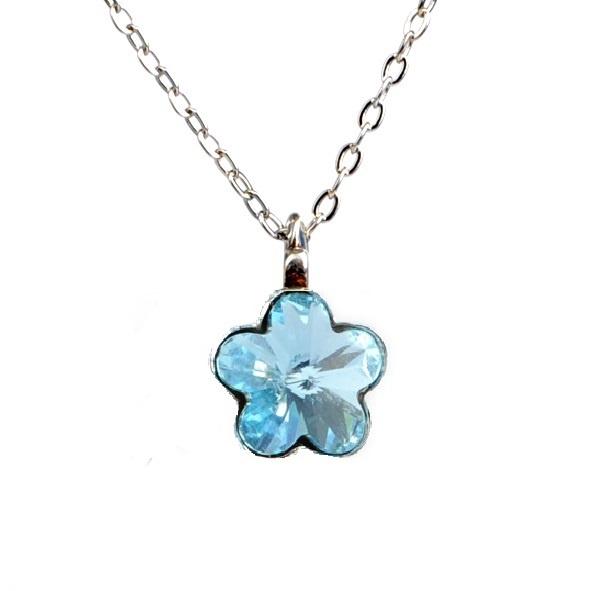 Dětský náhrdelník s krystaly Swarovski - modrá kytička
