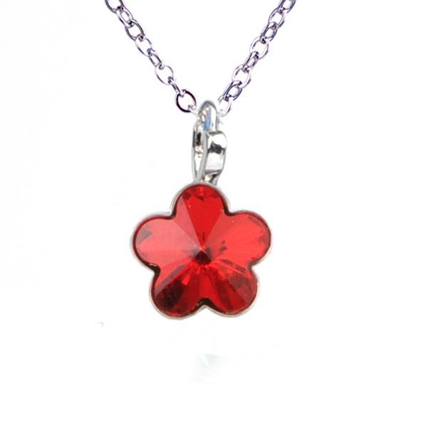 Dětský náhrdelník s krystaly Swarovski - červená kytička