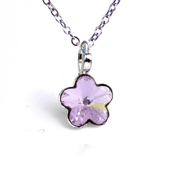 Dětský náhrdelník s krystaly Swarovski - fialová kytička
