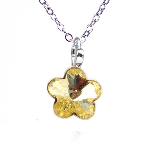 Dětský náhrdelník s krystaly Swarovski - žlutá kytička