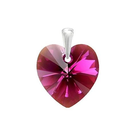 Stříbrný přívěsek Swarovski® elements - tmavě růžové srdíčko
