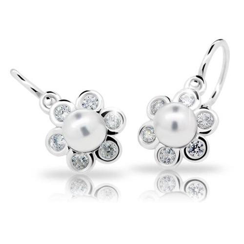 Dětské stříbrné náušnice Cutie C2489-Ag White s bílou perlou