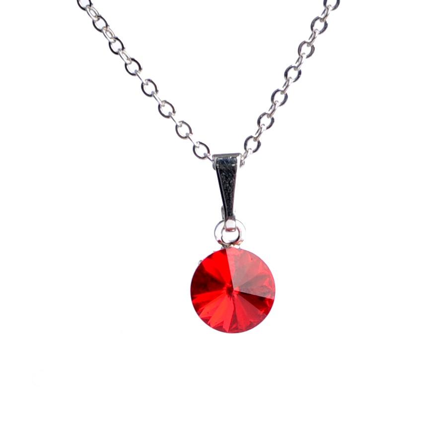Dětský náhrdelník s krystaly Swarovski - červené kolečko