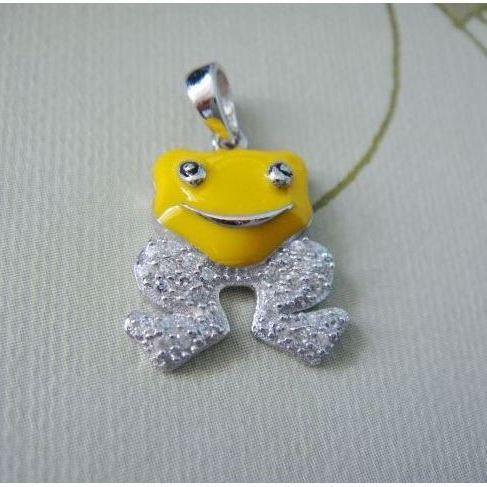 Stříbrný dětský přívěsek - žlutá žabka