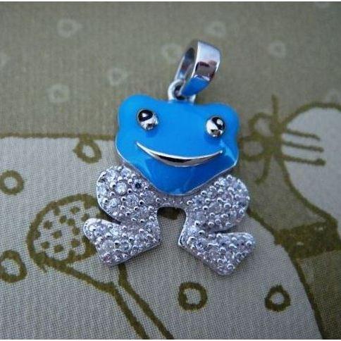 Stříbrný dětský přívěsek - modrá žabka