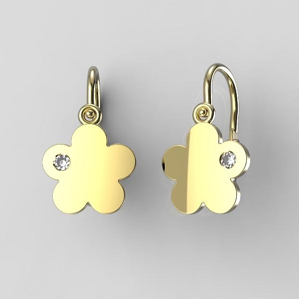 Dětské náušnice ze žlutého zlata - kytičky se zirkonem nebo diamantem Kamínek: Žluté zlato 14K, zirkon