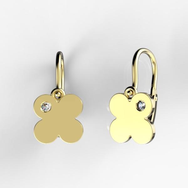 Dětské náušnice ze žlutého zlata - čtyřlístky se zirkonem nebo diamantem Kamínek: Žluté zlato 14K, zirkon