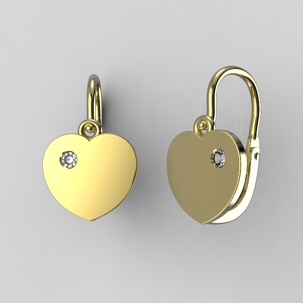 Dětské náušnice ze žlutého zlata - srdíčka se zirkonem nebo diamantem Kamínek: Žluté zlato 14K, zirkon