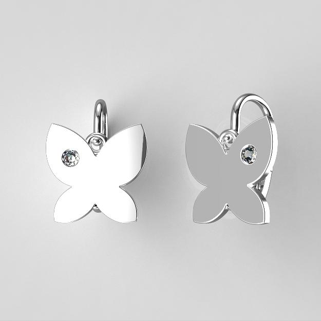 Dětské náušnice z bílého zlata - motýlci se zirkonem nebo diamantem Kamínek: Bílé zlato 14K, zirkon