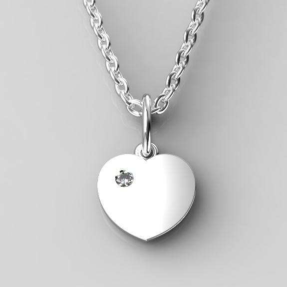 Dětský přívěsek z bílého zlata - srdíčko se zirkonem nebo diamantem Parametry: Bílé zlato 14K, zirkon