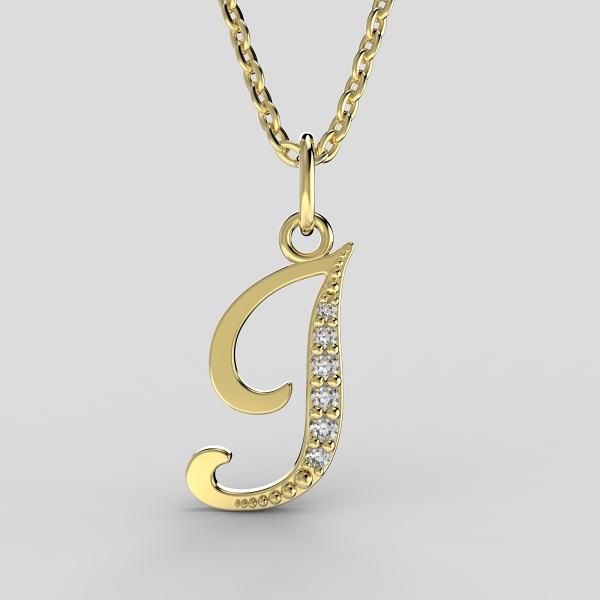 Dětské přívěsky ze žlutého zlata zdobené zirkony - písmenka Písmeno: Písmeno J