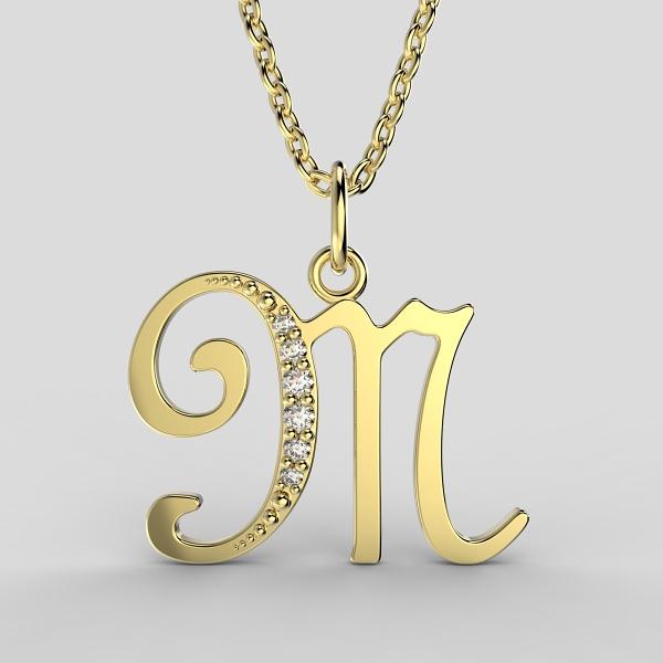 Dětské přívěsky ze žlutého zlata zdobené zirkony - písmenka Písmeno: Písmeno M