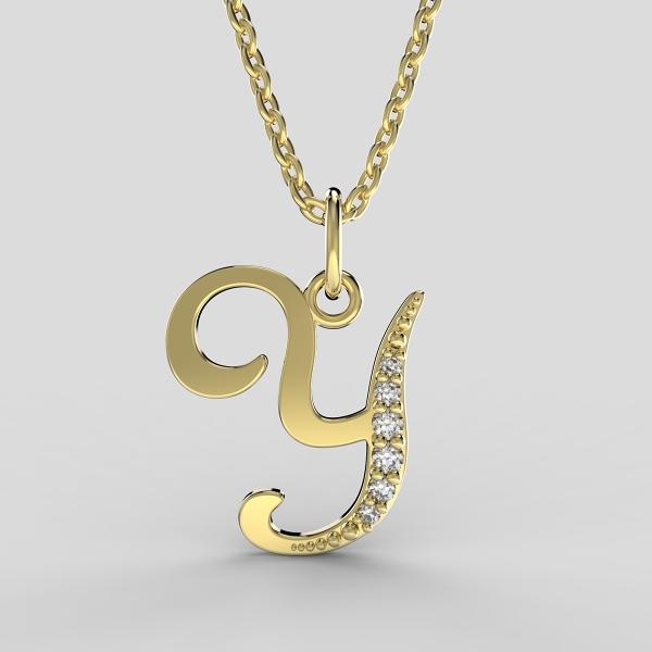 Dětské přívěsky ze žlutého zlata zdobené zirkony - písmenka Písmeno: Písmeno Y