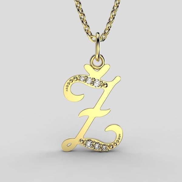 Dětské přívěsky ze žlutého zlata zdobené zirkony - písmenka Písmeno: Písmeno Ž