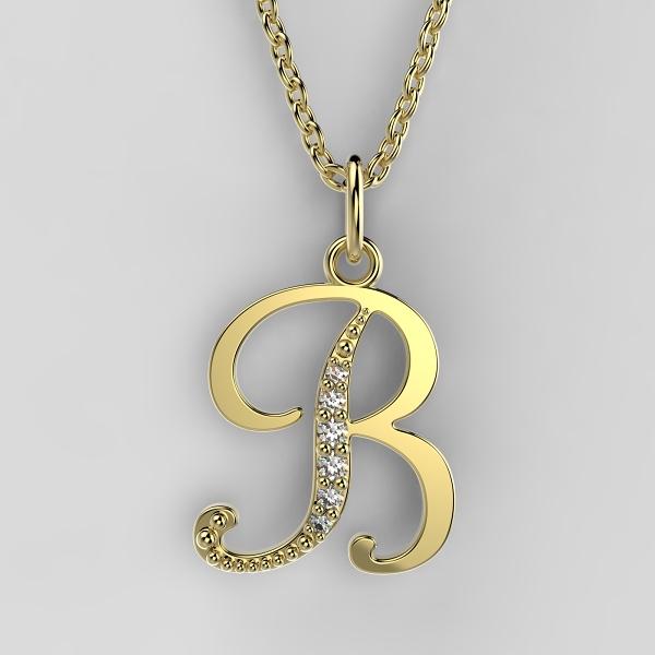Dětské přívěsky ze žlutého zlata zdobené zirkony - písmenka Písmeno: Písmeno B