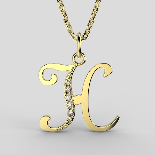 Dětské přívěsky ze žlutého zlata zdobené zirkony - písmenka Písmeno: Písmeno H
