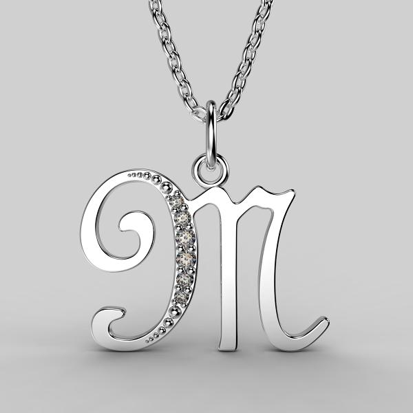 Dětské přívěsky z bílého zlata se zirkony - písmenka Písmeno: Písmeno M