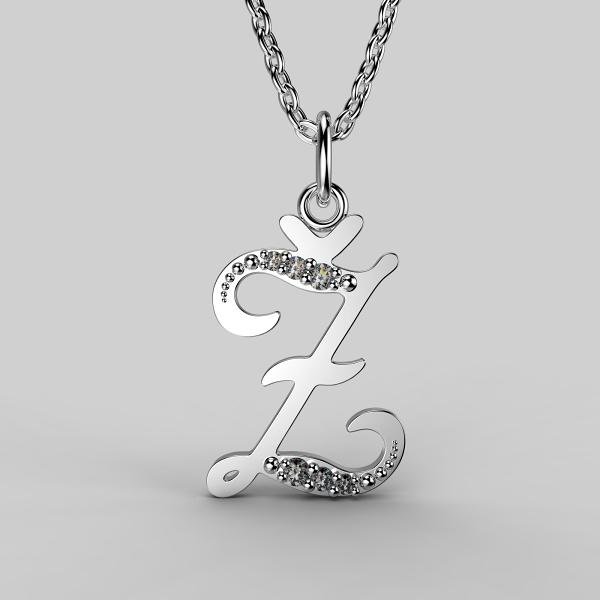 Dětské přívěsky z bílého zlata se zirkony - písmenka Písmeno: Písmeno Ž