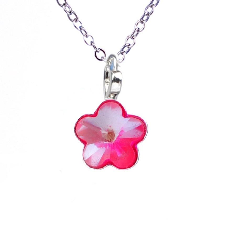 Dětský náhrdelník s krystaly Swarovski - neónově růžová kytička