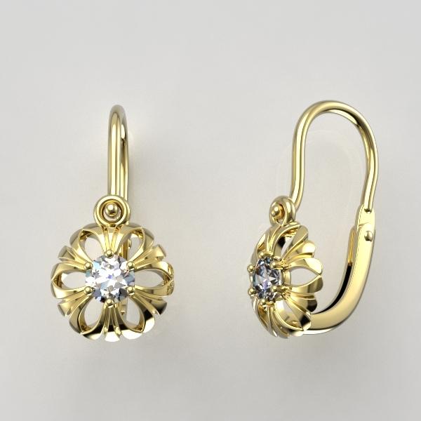 Dětské náušnice ze žlutého zlata - kytičky se zirkonem nebo diamantem Parametry: Žluté zlato 14K, zirkon