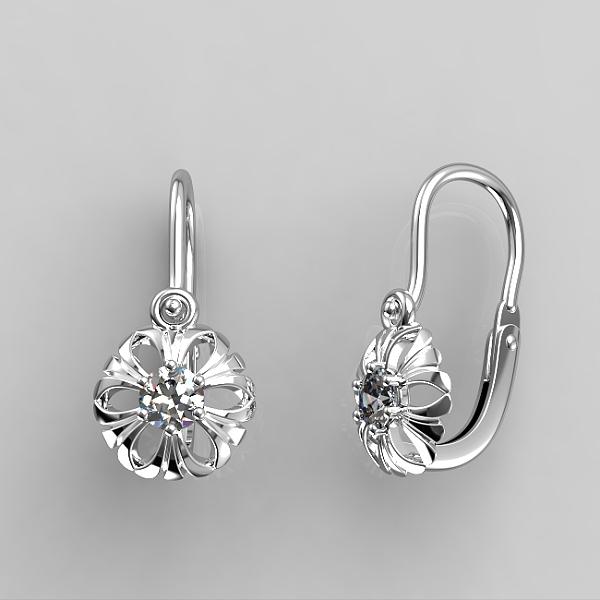 Dětské náušnice z bílého zlata - kytičky se zirkonem nebo diamantem Parametry: Bílé zlato 14K, zirkon