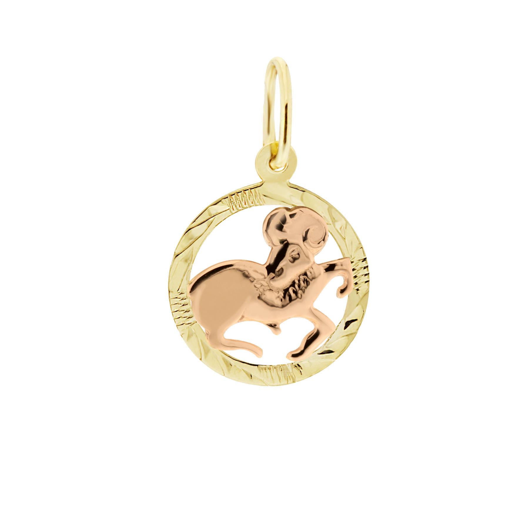 Zlatý přívěsek - znamení zvěrokruhu Beran Tvar: Kolečko, rytý rámeček