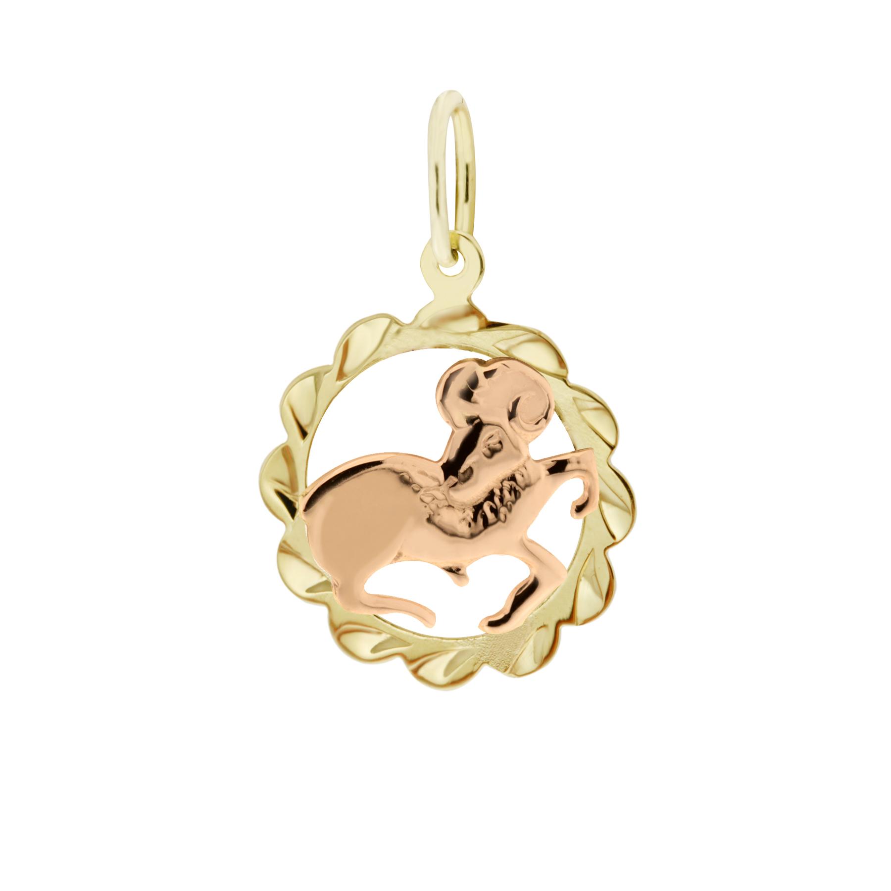 Zlatý přívěsek - znamení zvěrokruhu Beran Tvar: Kytička, rytý rámeček