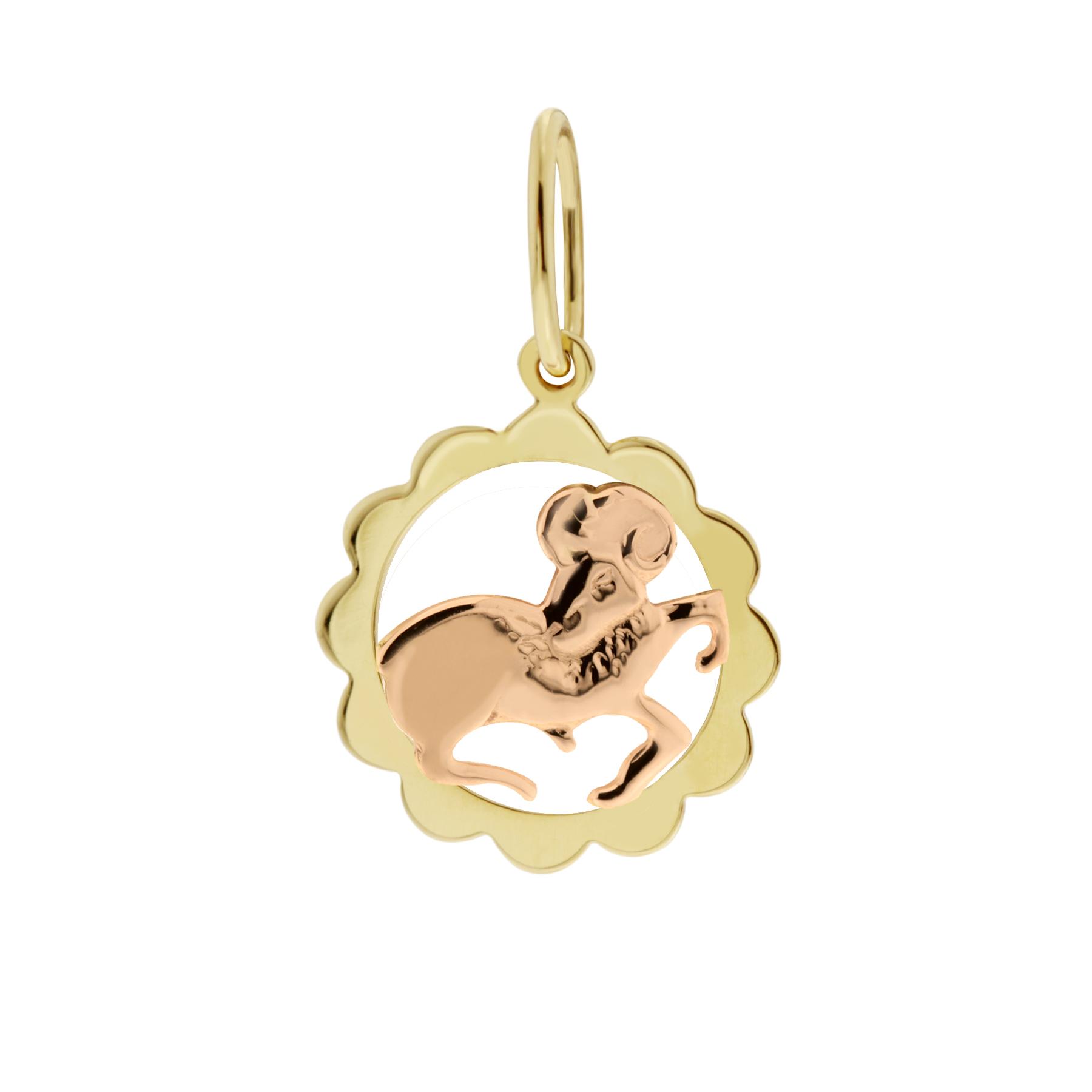 Zlatý přívěsek - znamení zvěrokruhu Beran Tvar: Kytička, hladký rámeček