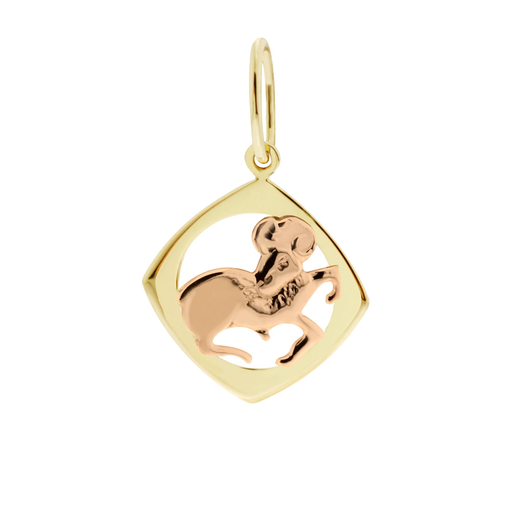 Zlatý přívěsek - znamení zvěrokruhu Beran Tvar: Čtvereček, hladký rámeček