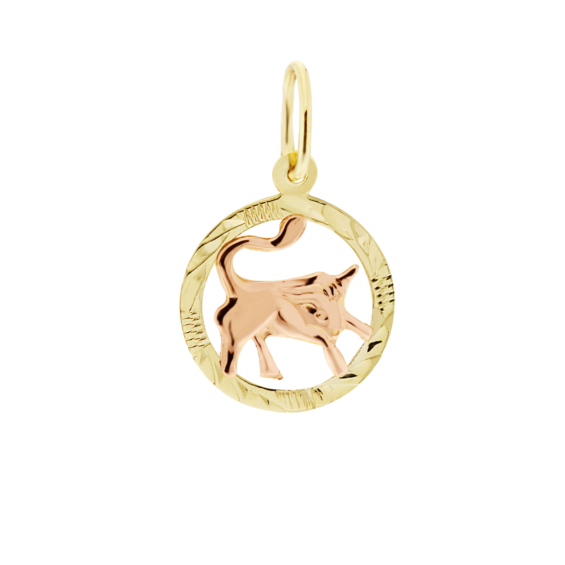 Zlatý přívěsek - znamení zvěrokruhu Býk Tvar: Kolečko, rytý rámeček