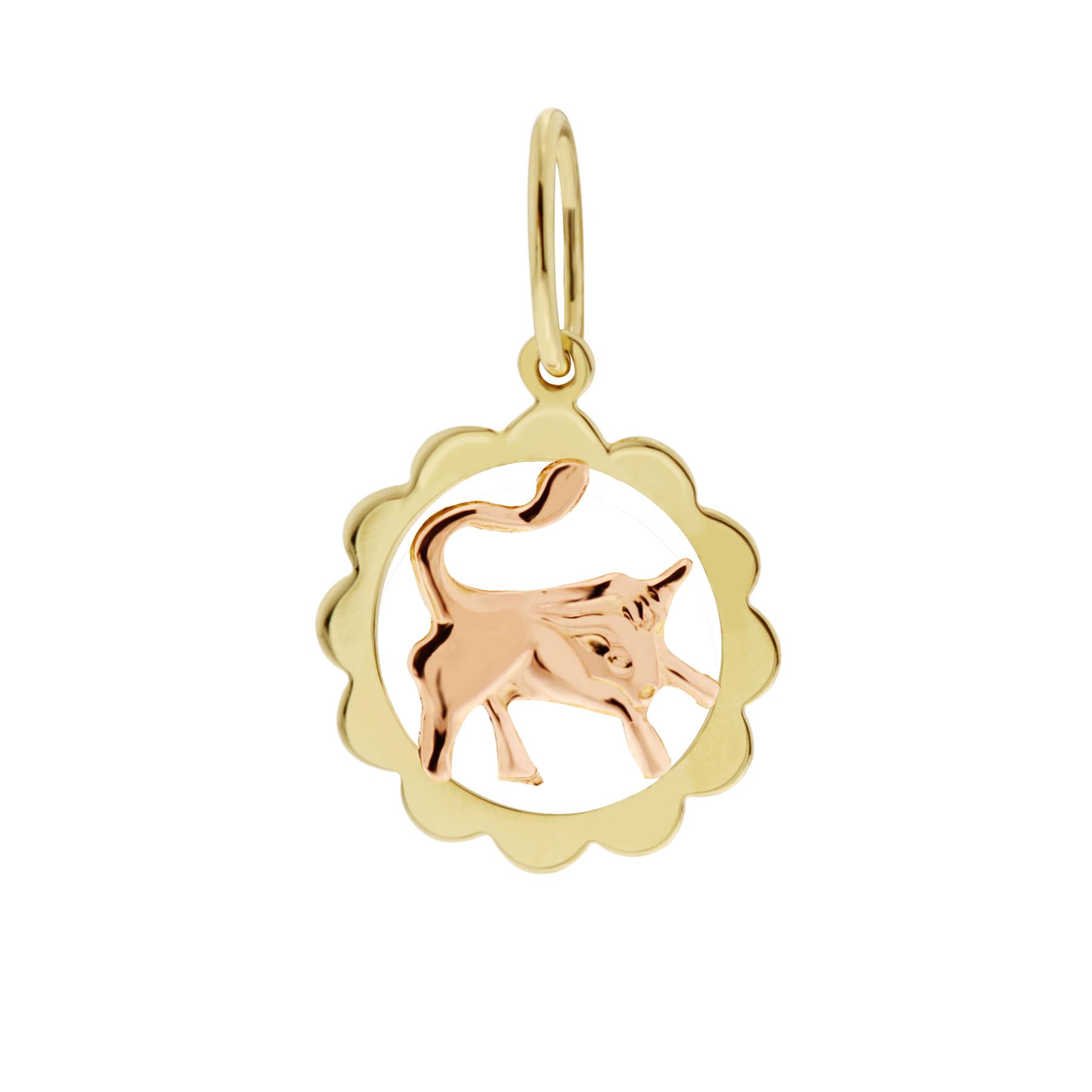 Zlatý přívěsek - znamení zvěrokruhu Býk Tvar: Kytička, hladký rámeček