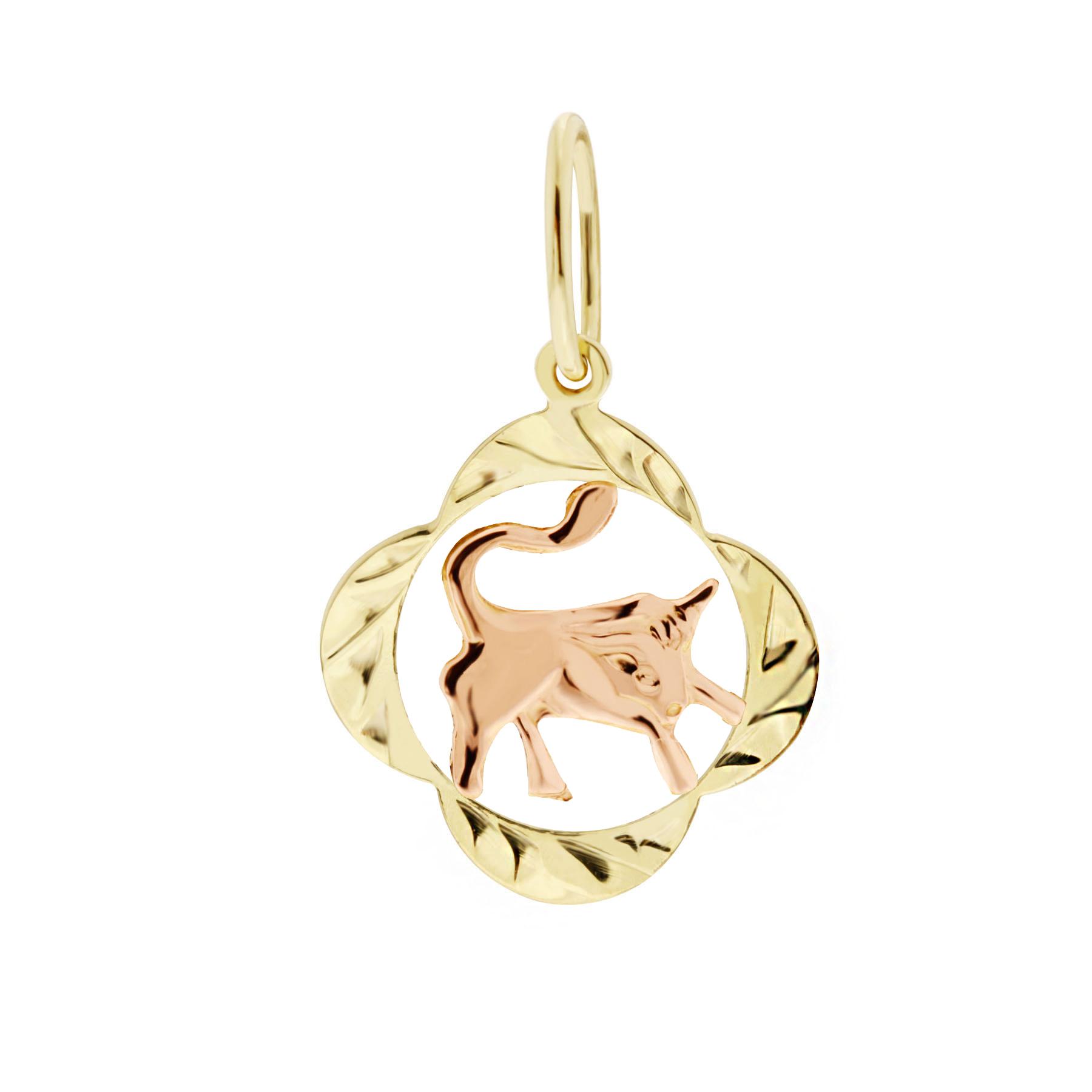Zlatý přívěsek - znamení zvěrokruhu Býk Tvar: Čtyřlístek, rytý rámeček
