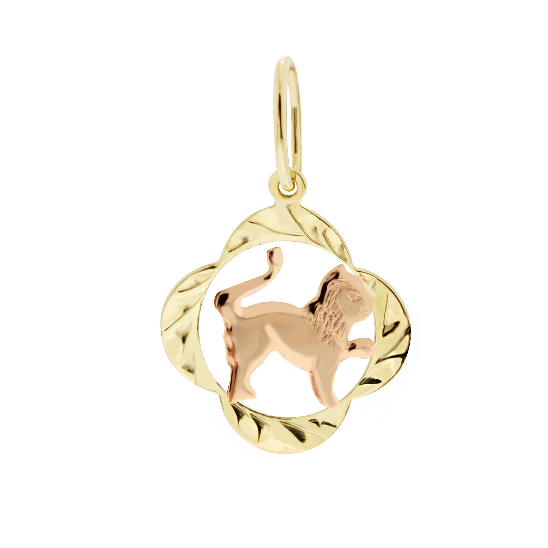 Zlatý přívěsek - znamení zvěrokruhu Lev Tvar: Čtyřlístek, rytý rámeček