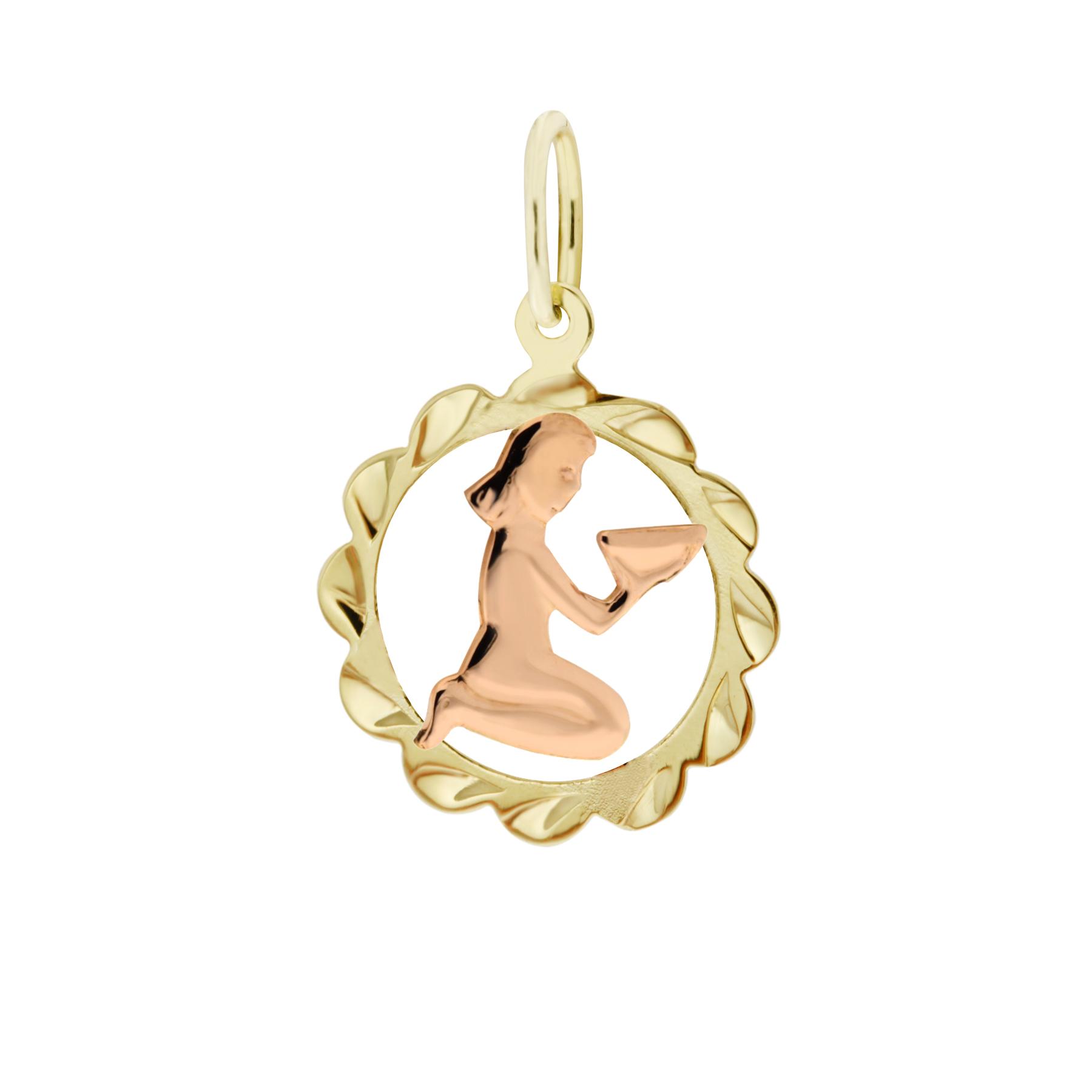 Zlatý přívěsek - znamení zvěrokruhu Panna Tvar: Kytička, rytý rámeček