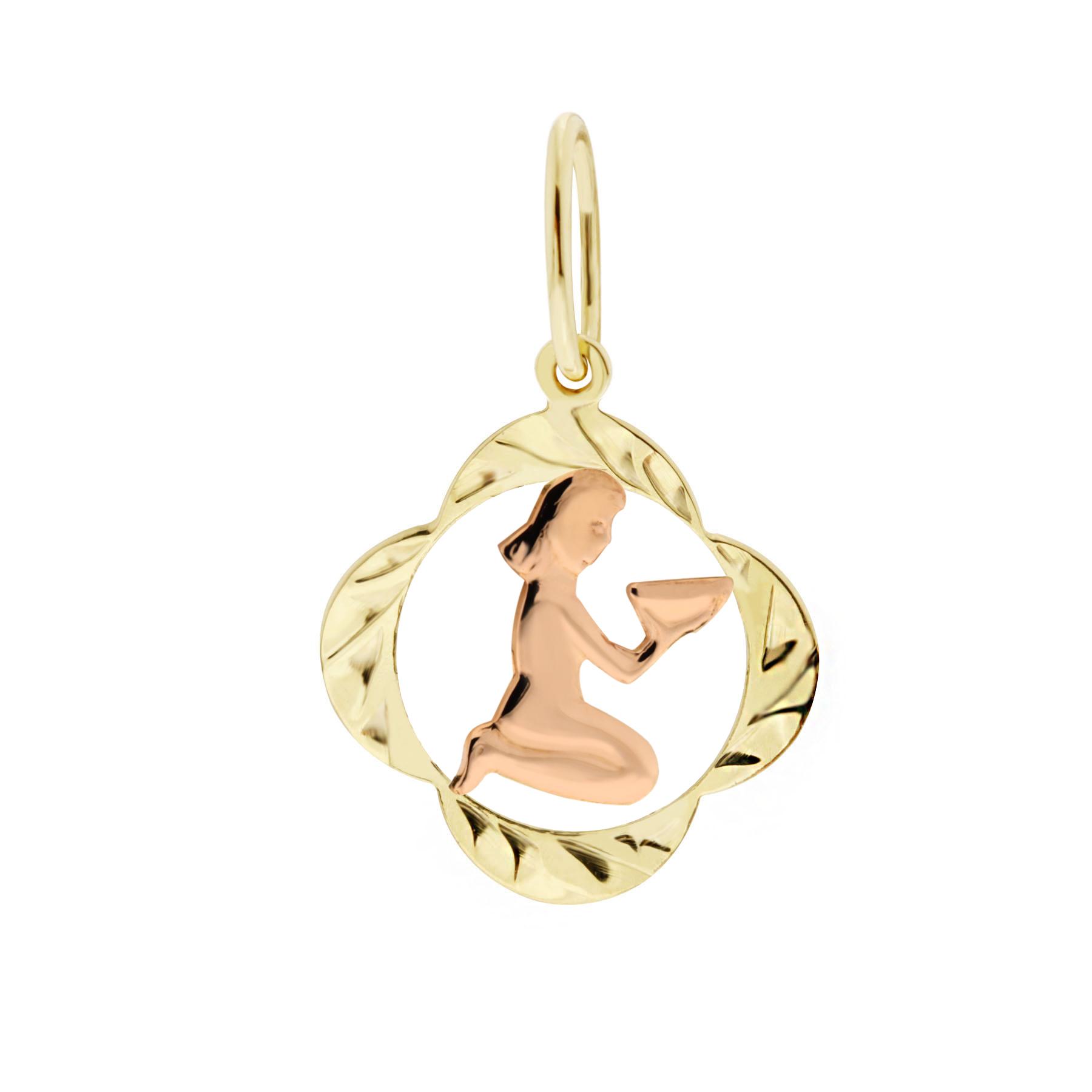 Zlatý přívěsek - znamení zvěrokruhu Panna Tvar: Čtyřlístek, rytý rámeček