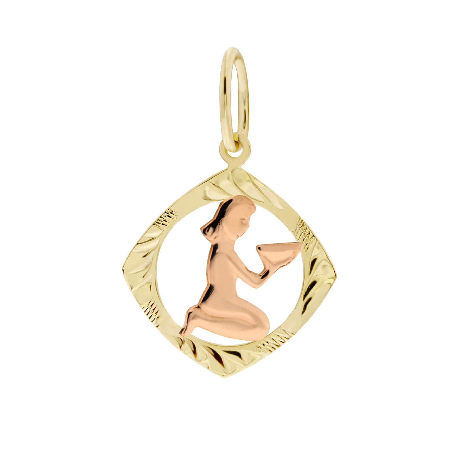 Zlatý přívěsek - znamení zvěrokruhu Panna Tvar: Čtvereček, rytý rámeček